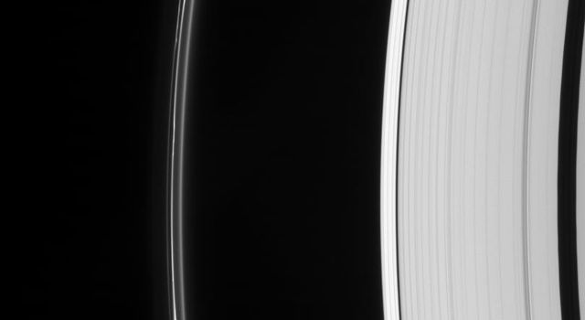Saturn's odd but ever-intriguing F ring displays multiple lanes and several bright clumps. The Keeler and Encke gaps are visible in the outer A ring, at right as seen by NASA's Cassini spacecraft.