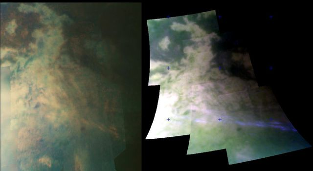 This image set from NASA's Cassini spacecraft was taken at a distance of 15,000 kilometers (9,300 miles) from Titan and shows two views of an area riddled by mountain ranges that were probably produced by tectonic forces.