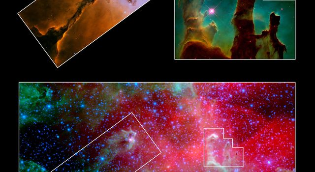 This image composite highlights the pillars of the Eagle nebula, as seen in infrared light by NASA's Spitzer Space Telescope (bottom) and visible light by NASA's Hubble Space Telescope (top insets).