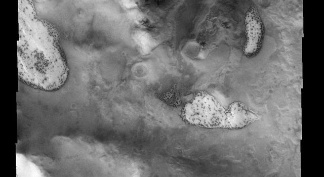 This image of the south polar region shows several different surface textures, including the 'dalmatian' spot pattern on Mars as seen by NASA's Mars Odyssey spacecraft.