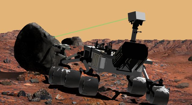 This artist's conception of NASA's Mars Science Laboratory portrays use of the rover's ChemCam instrument to identify the chemical composition of a rock sample on the surface of Mars.