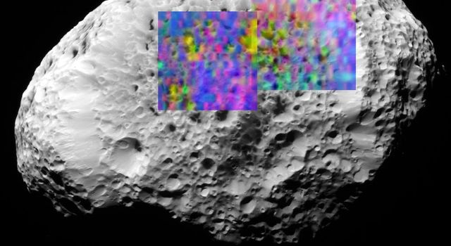 Hyperion, the eighth largest of Saturn's moons, is covered in craters and landslides. This color map shows the composition of a portion of Hyperion's surface determined with the Visual and Infrared Mapping Spectrometer aboard NASA's Cassini spacecraft.