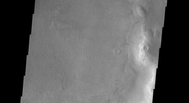 This image from NASA's Mars Odyssey spacecraft shows large, dark sand dunes on Mars. These dunes are on the floor of Kaiser Crater.