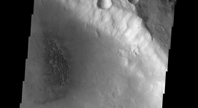 This image from NASA's Mars Odyssey spacecraft shows a small field of dunes located on the floor of an unnamed crater on Mars.