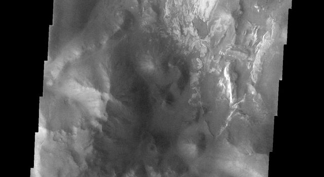 This image from NASA's Mars Odyssey spacecraft shows a small portion of Iani Chaos on Mars. The different tones and surface textures indicate that different types of material exist in this region.