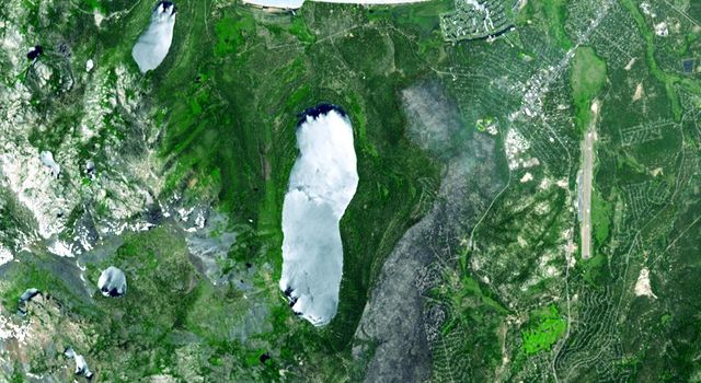 A destructive forest fire broke out June 24, 2007 near South Lake Tahoe, Calif. This image was acquired by NASA's Terra on June 27, 2007.