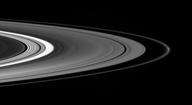 On Oct. 1, 2007, NASA's Cassini spacecraft spies the small moon Atlas, accompanied by bright clumps of material in the F ring, as it gazed down at the unilluminated side of the rings.