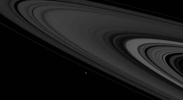 NASA's Cassini spies two icy denizens, Mimas and Epimetheus, of the Saturn System as they hurtle past in this image taken on Nov. 6, 2007.