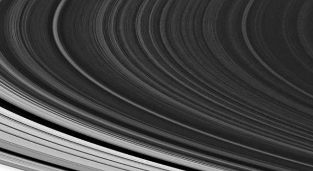 The spoke-forming region in the outer part of Saturn's B ring is often seen to exhibit the irregular, patchy appearance around the ring that is visible in this image captured by NASA's Cassini spacecraft on Oct. 21, 2007.