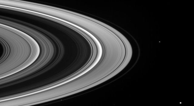 On Mar. 17, 2008, NASA's Cassini spacecraft captured a fleet of small moons patrols the outskirts of Saturn's icy rings. Shown here are shepherd moon Prometheus, Pandora, and Janus.