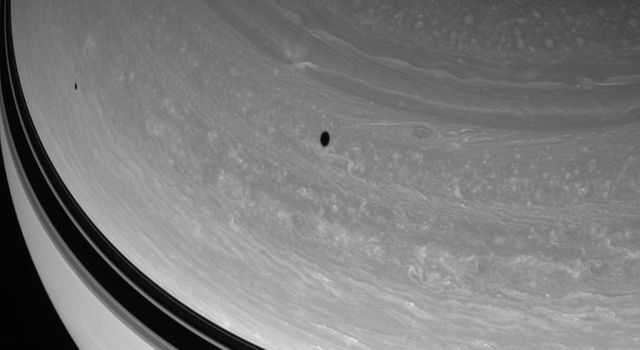 Two dark spots drift across the northern skies of Saturn in this image captured by NASA's Cassini spacecraft. The shadows are cast by the moons Tethys and Mimas. Tethys orbits farther from Saturn than Mimas and casts the larger of the two shadows here.