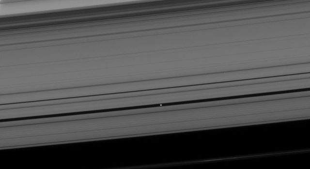 Pan coasts down its private highway within the Encke Gap. The limb of Saturn is seen through the rings at upper left in this image taken by NASA's Cassini spacecraft on Apr. 24, 2008.