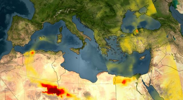 A series of fires across Greece in August of 2007 burned 469,000 acres, visualized here by the Atmospheric Infrared Sounder (AIRS) on NASA's Aqua satellite.