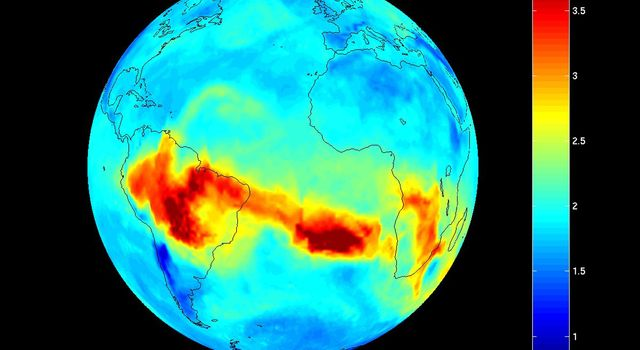 Map of carbon monoxide draped on globe: time Series from 8/1/2005 to 9/30/2005 from the Atmospheric Infrared Sounder (AIRS) on NASA's Aqua satellite.