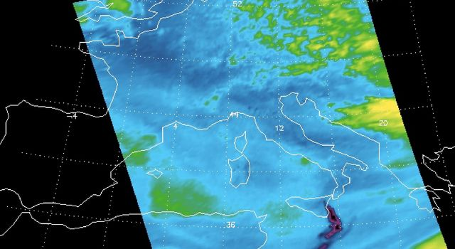 Sulfur dioxide plume from the Mt. Etna Eruption 2002 as seen by the Atmospheric Infrared Sounder (AIRS) instrument onboard NASA's Aqua satellite.