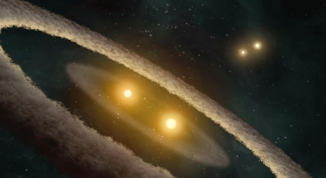 This artist concept based on data from NASA's Spitzer Space Telescope, depicts a quadruple-star system called HD 98800. The system is approximately 10 million years old, and is located 150 light-years away in the constellation TW Hydrae.