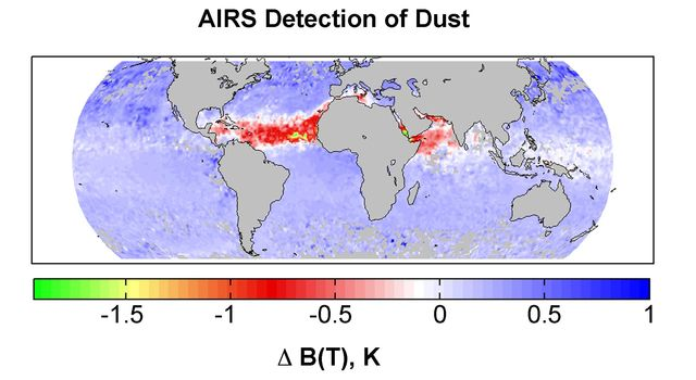 Detection of dust: global map for July 2003 from the Atmospheric Infrared Sounder (AIRS) instrument onboard NASA's Aqua satellite.