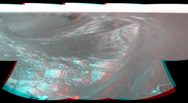 NASA's Mars Exploration Rover Opportunity took the images combined to make this stereo view on Aug. 28, 2007. The rover was perched at the lip of Victoria Crater. 3D glasses are necessary to view this image.