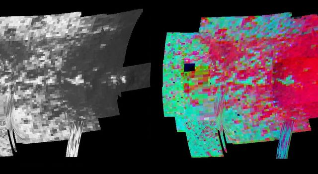 NASA's Cassini spacecraft made a close flyby of Saturn's moon Iapetus on Sept. 10, 2007, and the visual and infrared mapping spectrometer obtained these images showing surface composition and particle size.