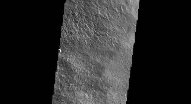This image from NASA's Mars Odyssey spacecraft shows lava flows on the eastern flank of Olympus Mons on Mars.