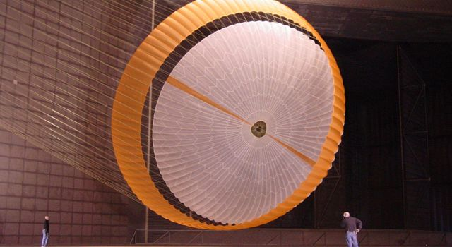 The team developing the landing system for NASA's Mars Science Laboratory tested the deployment of an early parachute design in mid-October 2007 inside the world's largest wind tunnel, at NASA Ames Research Center, Moffett Field, California.