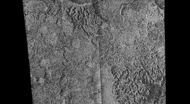 This synthetic aperture radar image was obtained by NASA's Cassini spacecraft on its pass by Titan's south pole on Dec. 20, 2007.