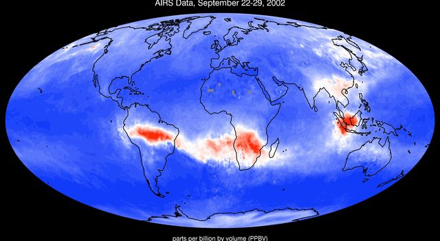 The Atmospheric Infrared Sounder instrument onboard NASA's Aqua satellite shows  mean carbon monoxide at 500 millibar, September 22-29, 2002 AIRS Mean Carbon Monoxide at 500 Millibar, September 22-29, 2002.