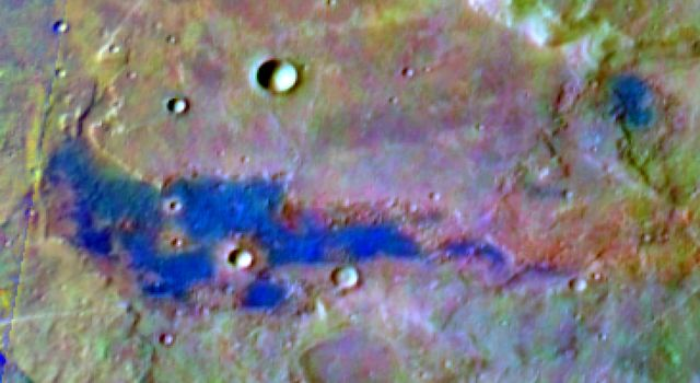 This image from NASA's Mars Odyssey shows a deposit of chloride (salt) minerals (bright blue) in the southern highlands of Mars in this false-color image, which highlights mineral composition differences.