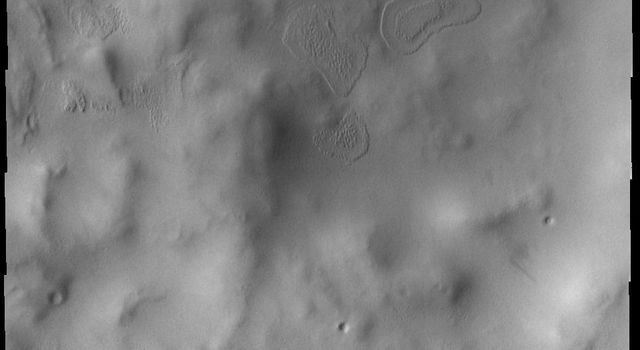 This image from NASA's Mars Odyssey shows a frost-free floor of this crater located in the southern hemisphere of Mars.