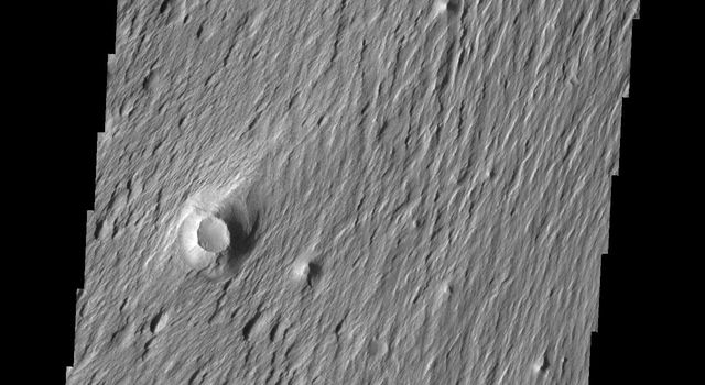 This image from NASA's Mars Odyssey shows an area on Mars where the wind is removing and sculpting the surface. The majority of the surface material in this region is poorly cemented and easy to erode.