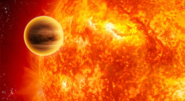 This artist's impression shows a gas-giant exoplanet transiting across the face of its star. Infrared analysis by NASA's Spitzer Space Telescope of this type of system provided the breakthrough.