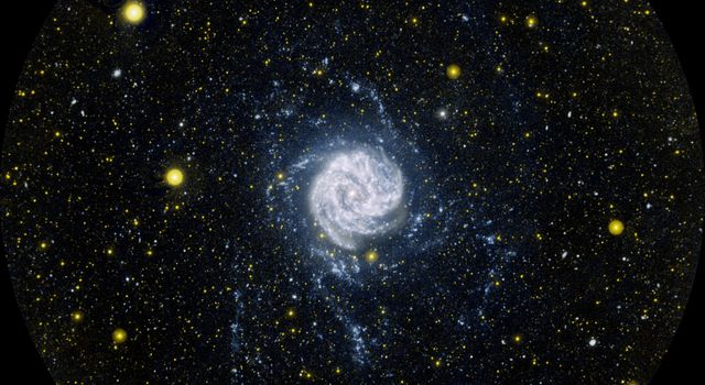 This ultraviolet image from NASA's Galaxy Evolution Explorer shows the Southern Pinwheel galaxy, also know as Messier 83 or M83. It is located 15 million light-years away in the southern constellation Hydra.