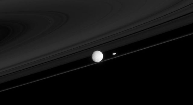 Two of Saturn's moons that have profound impacts on the rings, Mimas and Prometheus, are seen here with the F ring. This image was captured by NASA's Cassini spacecraft.