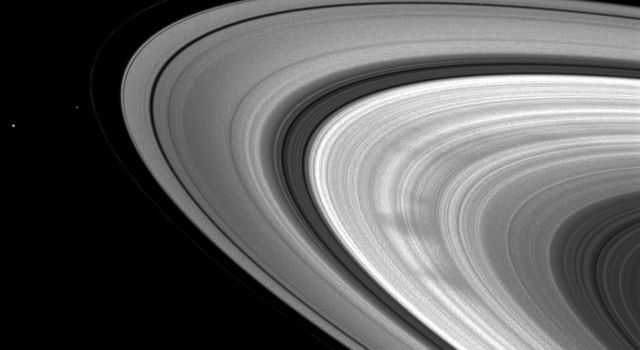 This November 2008 snapshot from NASA's Cassini spacecraft showcases a classic view of the triangular shape typical of many of the spokes in Saturn's outer B ring.
