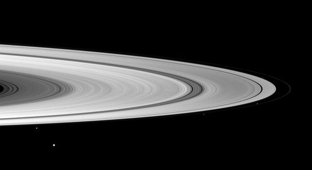 Structure in the tenuous F ring can be seen in this image from NASA's Cassini spacecraft  of the ring's bright core taken on Dec. 8, 2008.