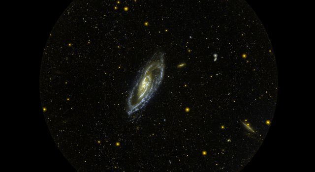 Since its launch five years ago, the Galaxy Evolution Explorer has photographed hundreds of millions of galaxies in ultraviolet light. M106 is one of those galaxies, 22 light years away.