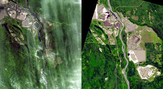 Near Fort McMurray, Alberta, Canada, on the east bank of the Athabasca River, are found the Steepbank and Millennium open pit mines. These images were acquired by NASA's Terra satellite on September 22, 2000 and July 31, 2007.