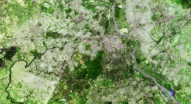Delhi is the second largest metropolis in India, with a population of 16 million and is located in northern India along the banks of the Yamuna River. This image was acquired by NASA's Terra satellite on September 22, 2003.
