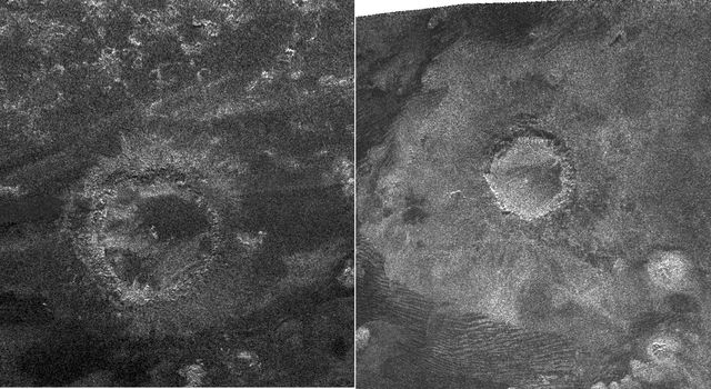 This side-by-side view shows a newly discovered impact crater compared with a previously discovered crater. The new crater was just discovered by NASA's Cassini spacecraft's radar instrument during its most recent Titan flyby on May 12, 2008.