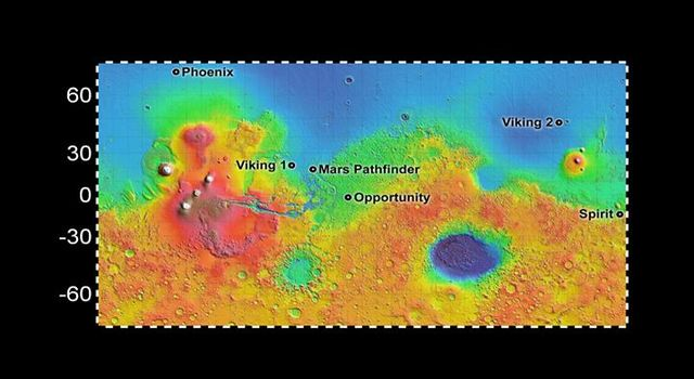 Six Landing Sites on Mars