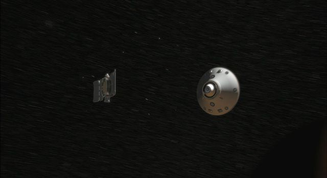 Seven minutes before NASA's Phoenix Mars Lander enters the Martian atmosphere, it will jettison the cruise stage hardware that it relied on during the long flight from Earth.