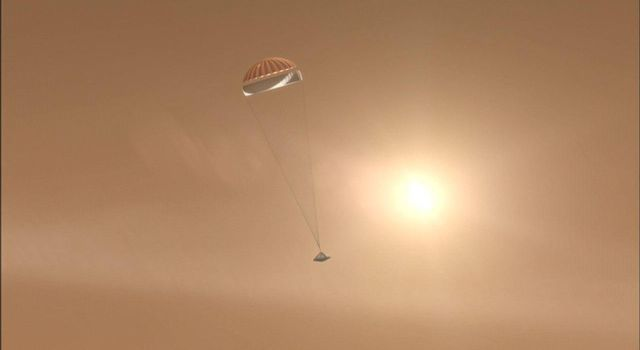 After NASA's Phoenix Mars Lander enters the Martian atmosphere, and is traveling at about 1.7 times the speed of sound, it will deploy its parachute.