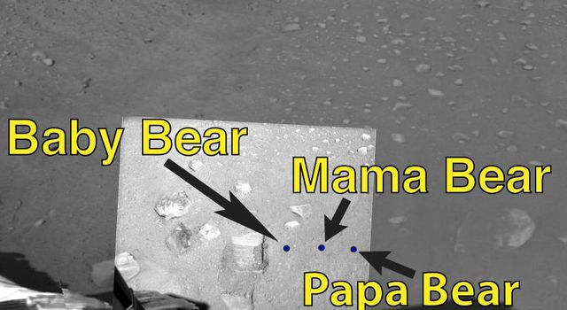 NASA's Phoenix Mars Lander shows sampling areas informally labeled 'Baby Bear,' 'Mama Bear,' and 'Papa Bear' on Mars.