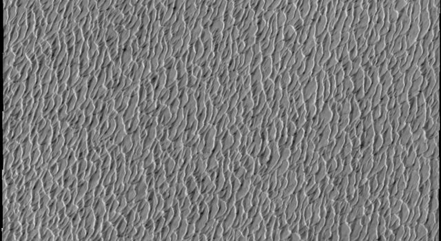 This image from NASA's Mars Odyssey shows a small portion of the north polar sand sea, an immense region of sand dunes on Mars. The dunes are just starting to shed their winter frost.