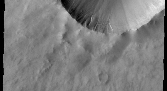 This image from NASA's Mars Odyssey shows a small dune field covering the floor of this unnamed crater on Mars, while gullies are located on the interior of the western rim.