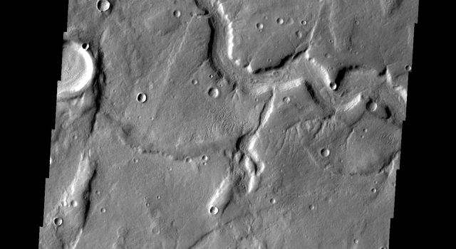 This image from NASA's Mars Odyssey shows a channel, just one of many located in eastern Tempe Terra on Mars.