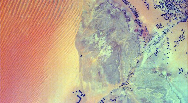 Sand Dunes and Center-Pivot Irrigation in Saudi Arabia