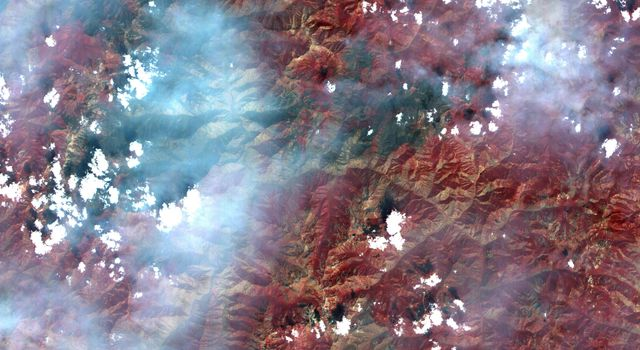 This full-frame image, acquired August 30, 2000 by NASA's Terra spacecraft, covers an area of 60 by 60 km in the Salmon River Mountains, Idaho.