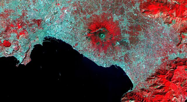 This image of Mt. Vesuvius Italy was acquired by NASA's Terra spacecraft on September 26, 2000, and covers an area of 36 by 45 km. Vesuvius overlooks the city of Naples and the Bay of Naples in central Italy.