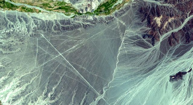 NASA's Terra spacecraft shows the Nasca Lines, located in the Pampa region of Peru, the desolate plain of the Peruvian coast 400 km south of Lima. The Lines were first spotted when commercial airlines began flying across the Peruvian desert in the 1920's.